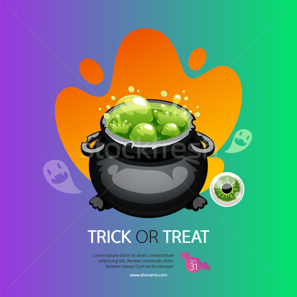 Astuce halloween carte de vœux pot coloré Photo stock © Voysla