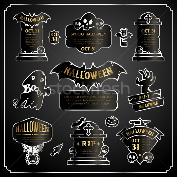 Halloween Design Labels Silver with Gold Set Stock photo © Voysla