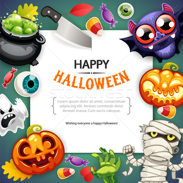 Stock photo: Happy Halloween Background with Copy Space Dark