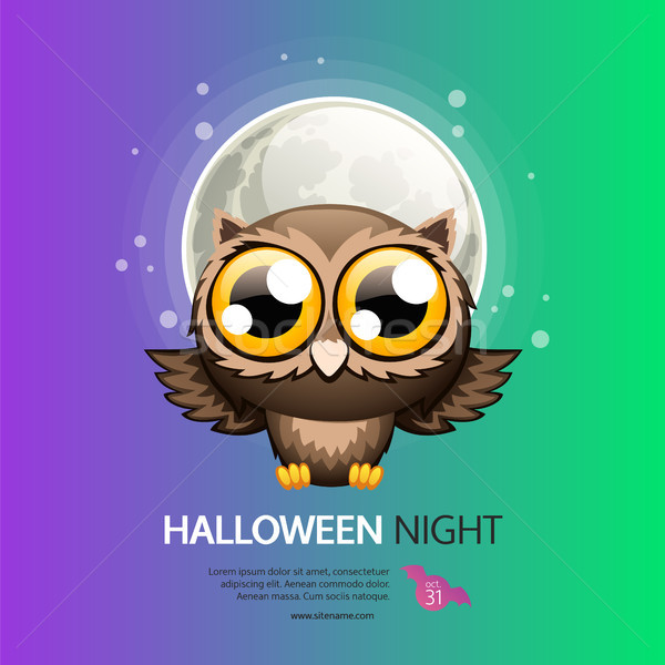 Halloween Night Greeting Card with Owl Stock photo © Voysla