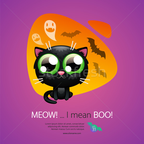 Halloween Greeting Card with Cat Stock photo © Voysla