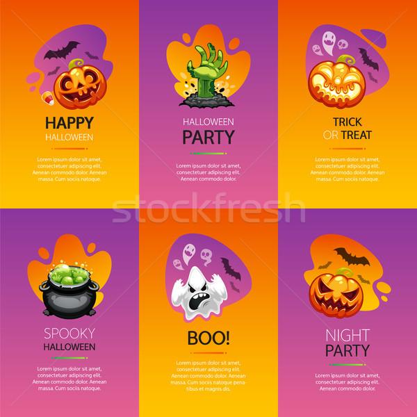 Stockfoto: Halloween · groet · kaarten · kleurrijk · ingesteld · verticaal