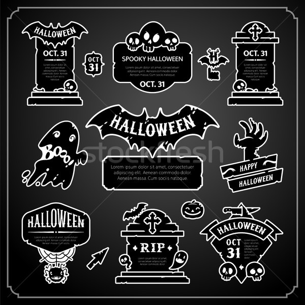 Halloween Design Labels Black and White Set Stock photo © Voysla