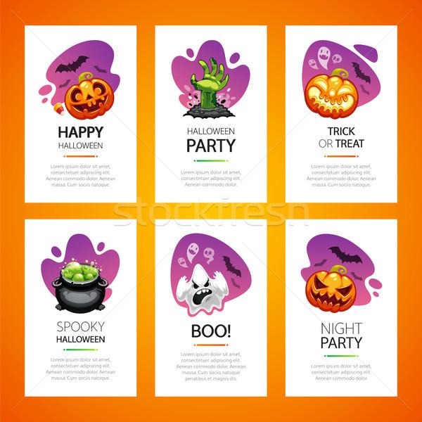 Halloween tebrik kartları ışık ayarlamak dikey Stok fotoğraf © Voysla