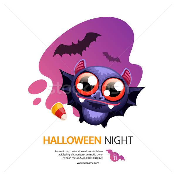 Halloween éjszaka üdvözlőlap denevér fehér aranyos Stock fotó © Voysla