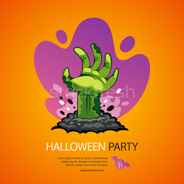 Halloween Party Poster with Zombie Hand Stock photo © Voysla