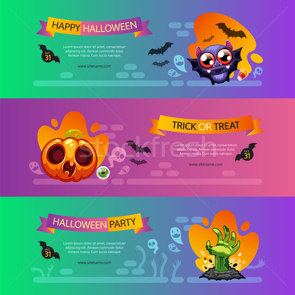 Halloween Horizontal Banners Vibrant Set Stock photo © Voysla