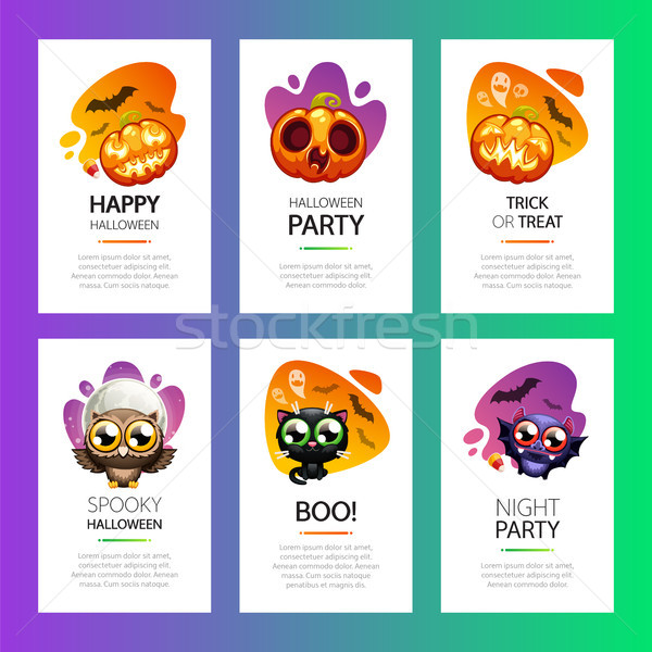Halloween Greeting Cards Vibrant Light Set Stock photo © Voysla