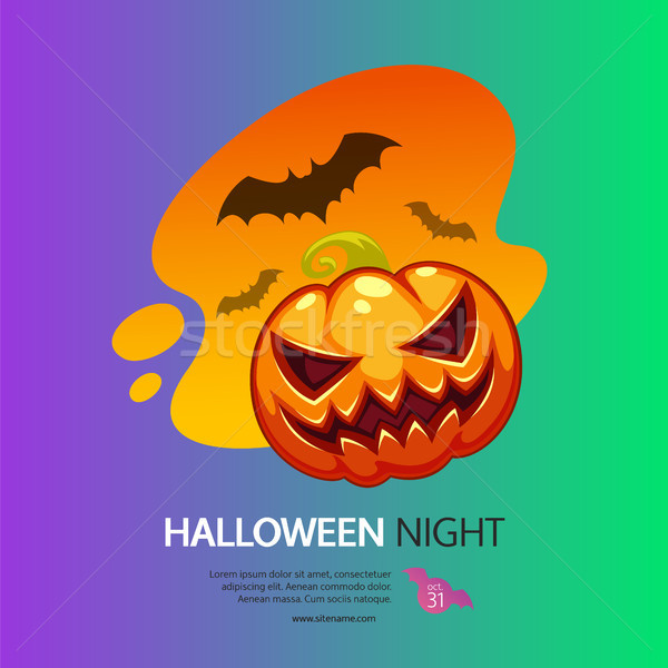Halloween éjszaka üdvözlőlap sütőtök színes lila Stock fotó © Voysla