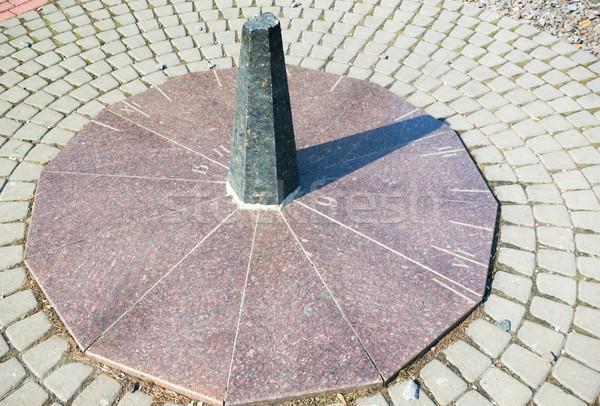 Stockfoto: Zonnewijzer · graniet · gezicht · zon · teken · groene