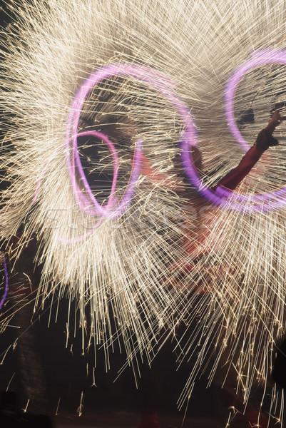 Yangın göstermek çok altın havai fişek festival Stok fotoğraf © vrvalerian
