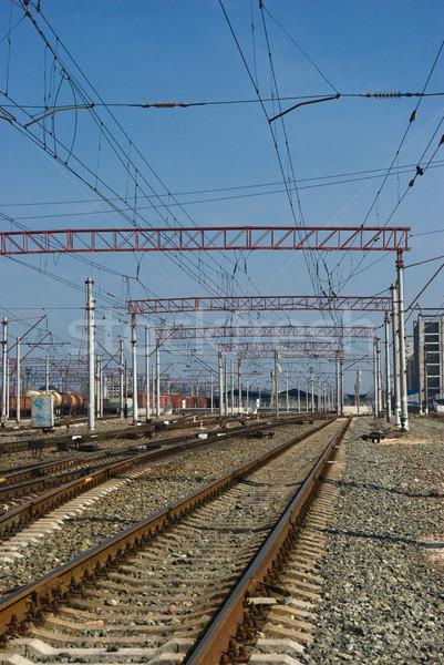 Ferrovia ferrovia perspectiva semáforo trem Foto stock © vrvalerian