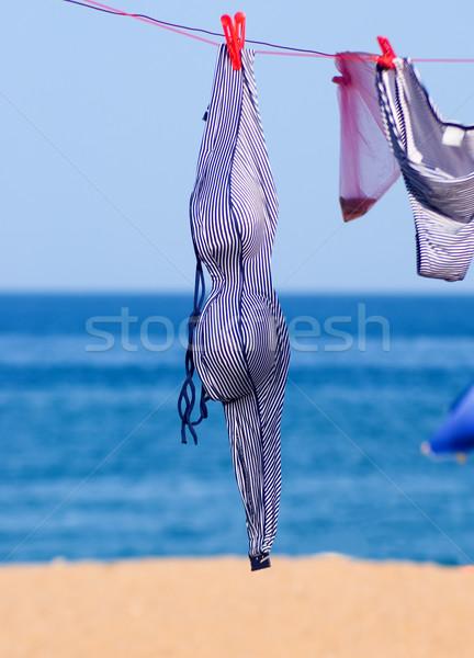 Stockfoto: Gestreept · zwempak · strand · water · zee · achtergrond