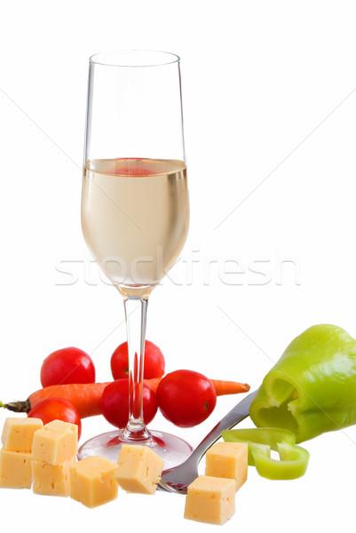 Glas witte witte wijn kaas tabel Stockfoto © vrvalerian