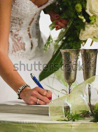 Stockfoto: Bruiloft · dag · bruidegom · handtekening · hand
