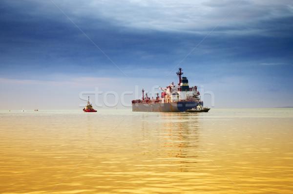 Stockfoto: Vrachtschip · container · oceaan · Blauw · reizen · boot