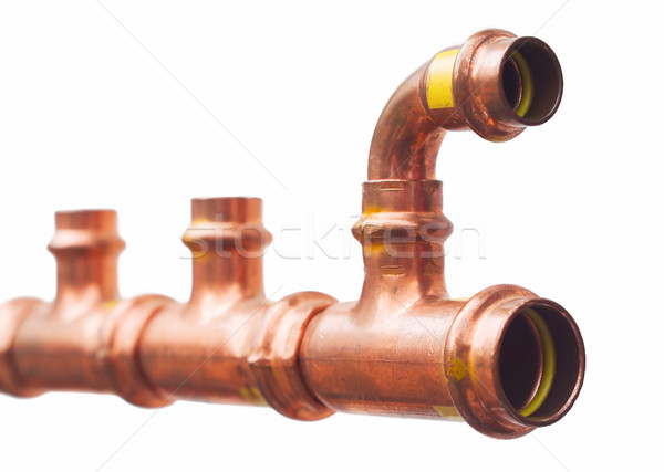 Koper pijp bouw metaal water pijpen Stockfoto © vrvalerian