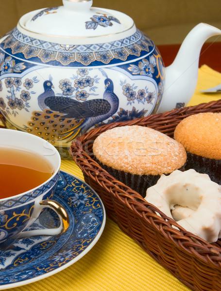 Thee cake ochtend gebak biscuits voedsel Stockfoto © vrvalerian