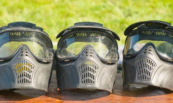Paintball máscara naturaleza muerta protección pintura deportes Foto stock © vrvalerian
