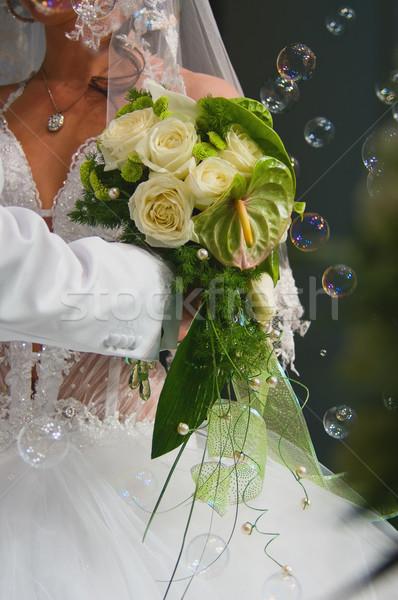 Stok fotoğraf: Buket · gelin · düğün · sevmek · mutlu · yaprak