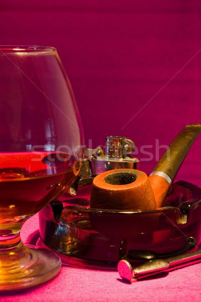 üveg cső whiskey hamutartó közelkép füst Stock fotó © vrvalerian
