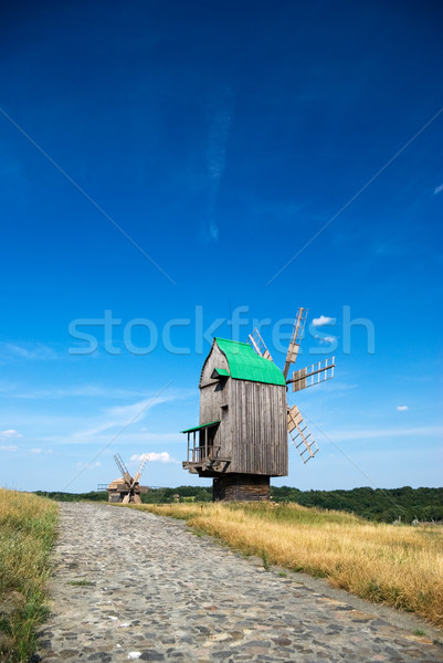 Stock photo: Old wooden windmills