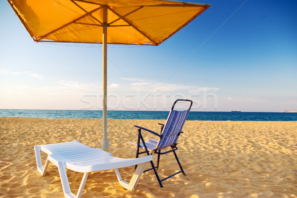 Paraplu lege strand hemel zomer Stockfoto © vrvalerian