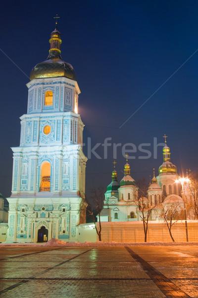 Nacht kathedraal boom weg muur Stockfoto © vrvalerian