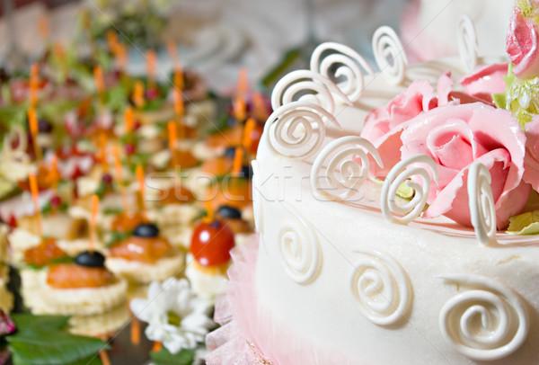 ケーキ 宴会 装飾された クリーム 花 食品 ストックフォト © vrvalerian