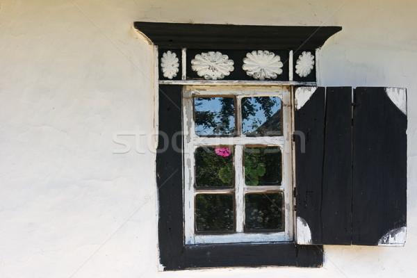 Velho janela branco parede preto Foto stock © vrvalerian