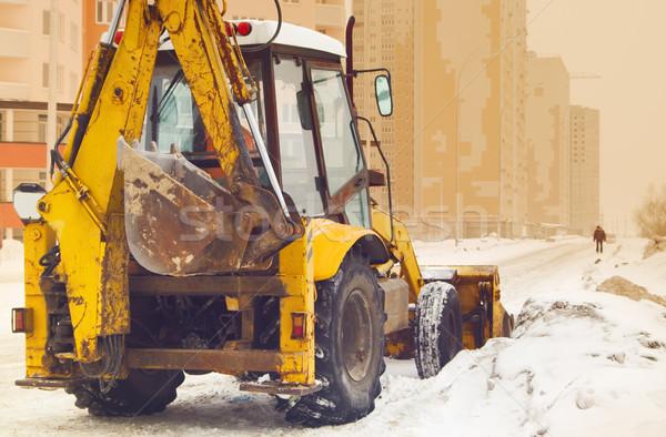 Traktör sokak sarı kar boş şehir Stok fotoğraf © vrvalerian