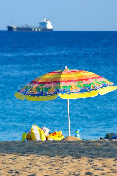 Stockfoto: Parasol · parasol · zee · strand · hemel