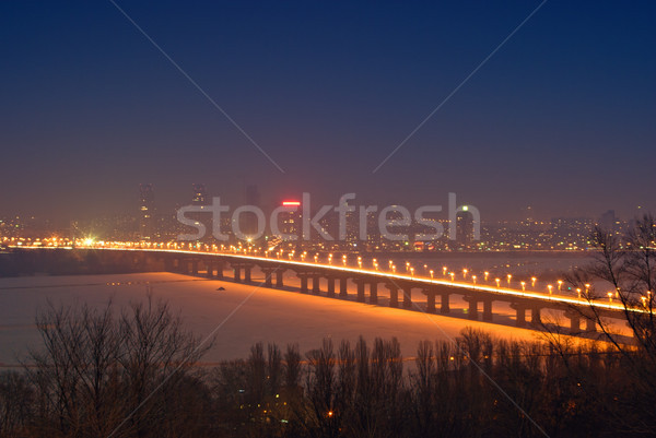 Stockfoto: Brug · rivier · water · ijs · winter · nacht
