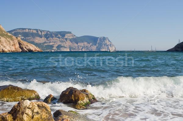 Foto stock: Preto · mar · ondas · montanhas