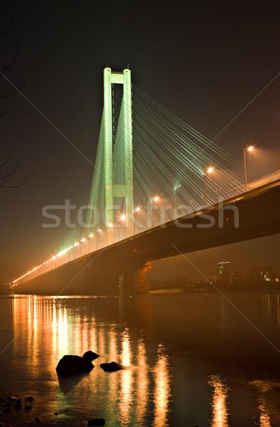 Brug rivier water nacht kabel architectuur Stockfoto © vrvalerian