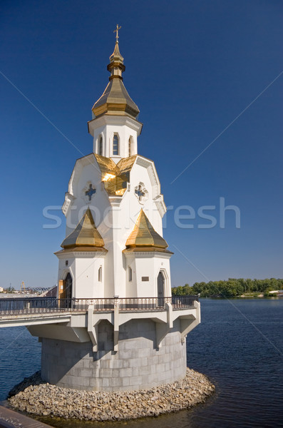 Igreja ortodoxo água nuvens natureza jesus Foto stock © vrvalerian