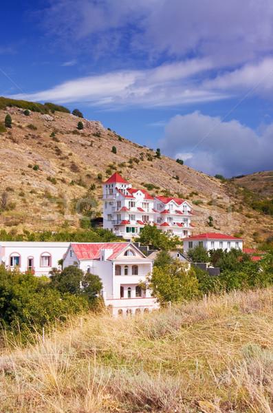 Ház dombok piros tető égbolt fű Stock fotó © vrvalerian