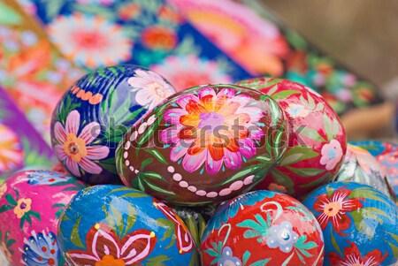 Húsvéti tojások derűs gyülekezet húsvét fű festék Stock fotó © vrvalerian