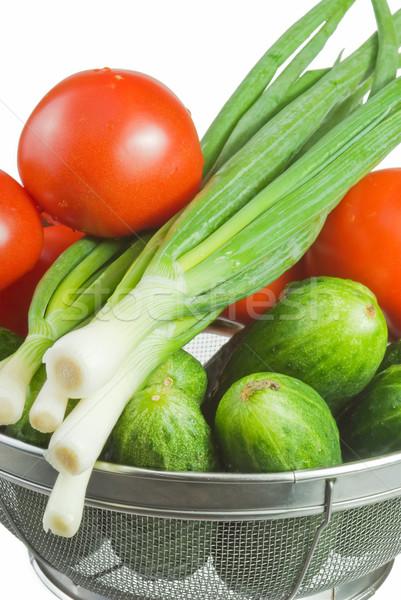 Legumes pepinos vermelho tomates mentir cesta Foto stock © vrvalerian