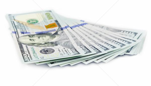 Stock fotó: Dollár · jegyzetek · izolált · fehér · zöld · csoport