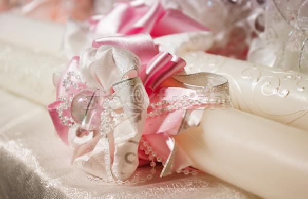 Boeg witte vorm rozen weefsel Stockfoto © vrvalerian