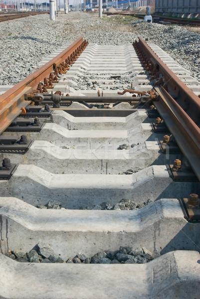 Ferrocarril resumen cruz metal industria piedra Foto stock © vrvalerian