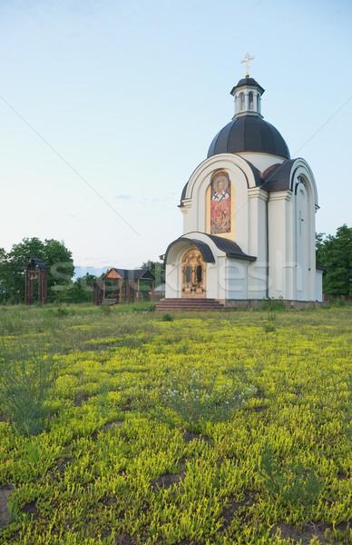 Kerk klein afstandsbediening bloemen hout natuur Stockfoto © vrvalerian