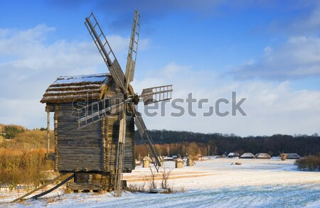 Oude houten windmolen museum gebouw werk Stockfoto © vrvalerian