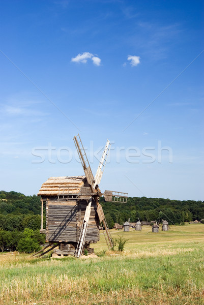 Stock photo: Old wooden windmills