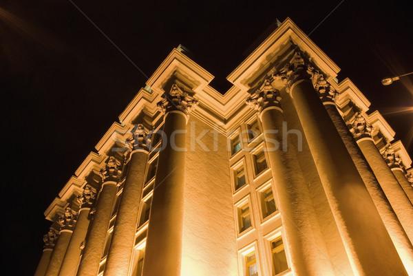 Gebouw kolommen nacht foto licht straat Stockfoto © vrvalerian