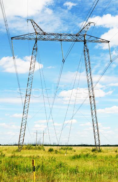 Macht lijn elektriciteit hoogspanning groene veld Stockfoto © vtls