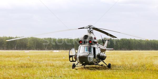 ヘリコプター 黄色 草 曇った 日 ストックフォト © vtls