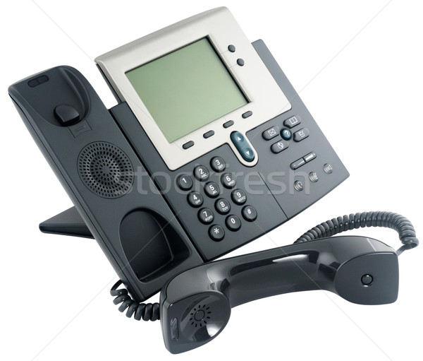 ストックフォト: デジタル · 電話 · セット · オフィス · 孤立した · 白