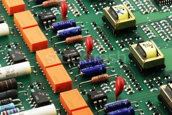 Circuit vue de côté technologie fond vert Photo stock © vtls